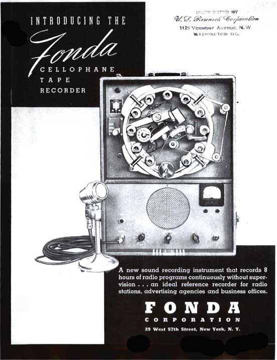 Fonda Cellophane Tape Recorder information in the Reel2ReelTexas/MOMSR/Theophilus vintage reel to reel tape recorder collection