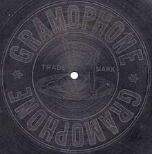 The Gramophone Co. trademark (right) as it appeared on the reverse of early single sided British Gramophone records