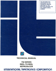 ITC 750 Series Reel to Reel Reproducer Manual cover