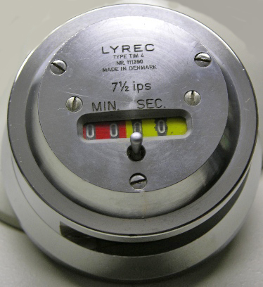 Lyrec TM4 timer for reel to reel tape recorders and used by Ampex, Studer and other major manufacturers. Photo is in the Reel2ReelTexas.com vintage reel tape recorder recording collection