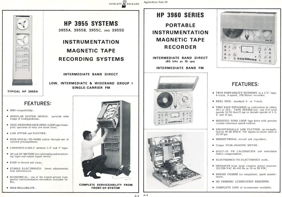1970 Hewlett Packard instrumentation recorders and information about Magnetic tape recording in the Reel2ReelTexas.com's vintage reel tape recorder recording collection