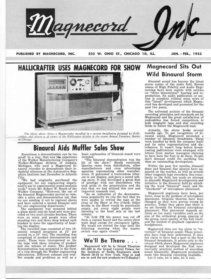 Magnecord Inc Newsletter January 1953