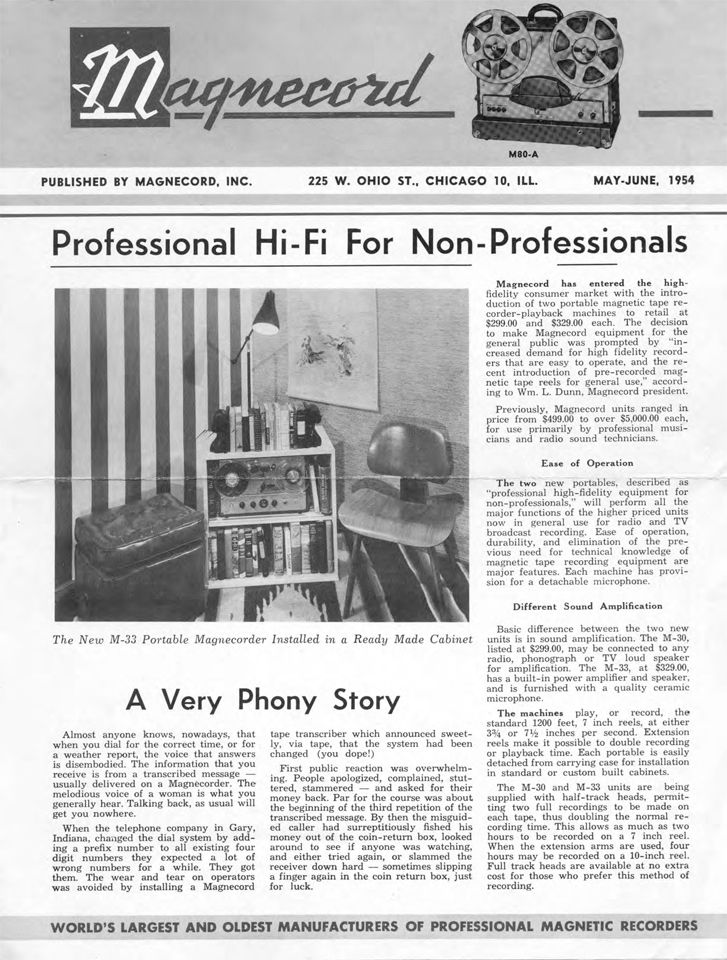 Magnecord Inc Newsletter May1954