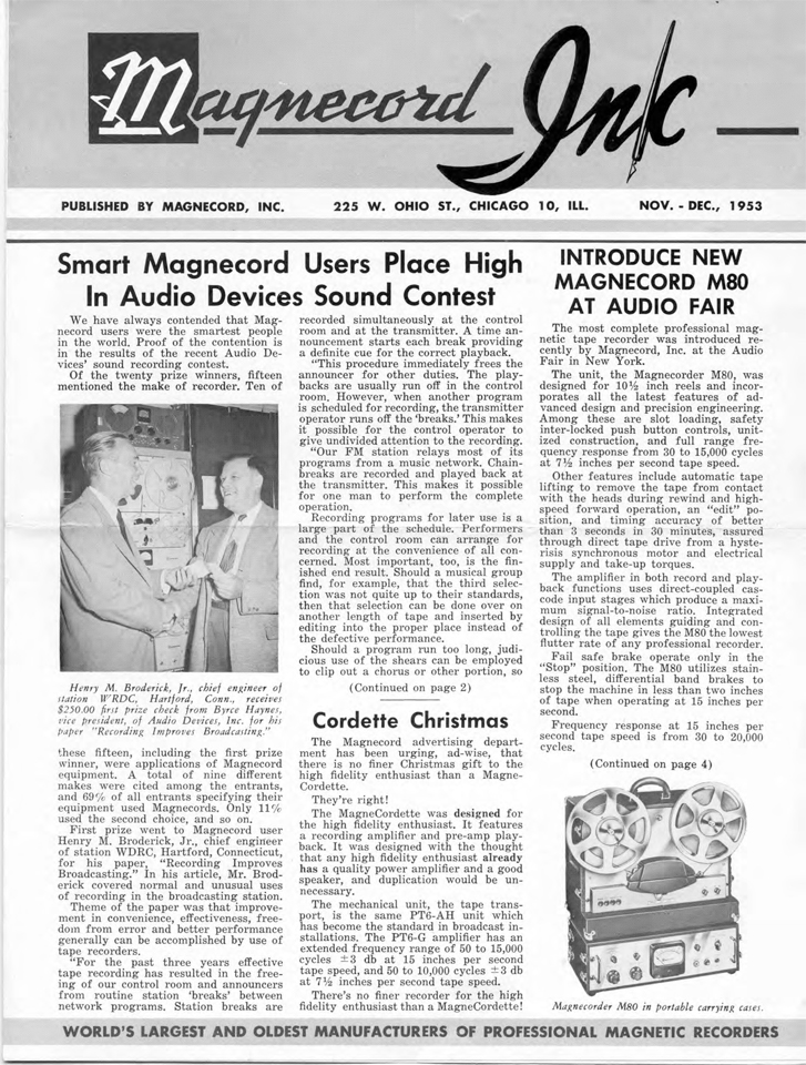 Magnecord Inc Newsletter November 1953