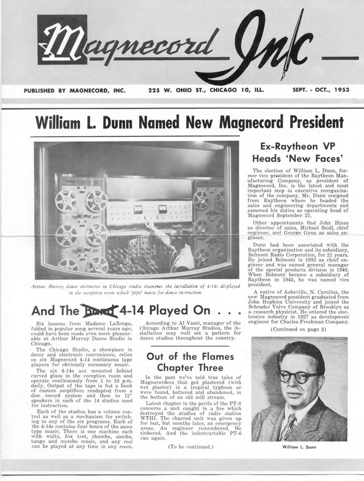 Magnecord Inc Newsletter September 1953