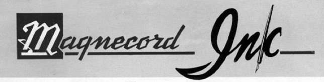 The Magnecord reel to reel tape recorder logo in the Reel2ReelTexas.com vintage recording collection