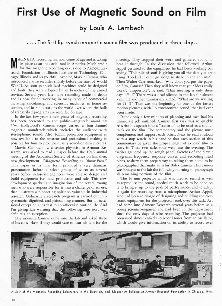 1958 Tape Recorder magazine article on the First Use of Magnetic Sound on Film in the Museum of Magnetic Sound Recording