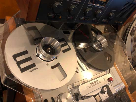 "10"" Maxell reel on MOMSR's Studer A807 reel tape recorder in the Reel2ReelTexas/MOMST/Theophilus vintage reel tape recorder collection"
