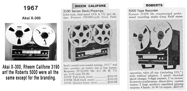 1967 comparison of the Akai, Rheem and Roberts recorder with the same configuration and different branding
