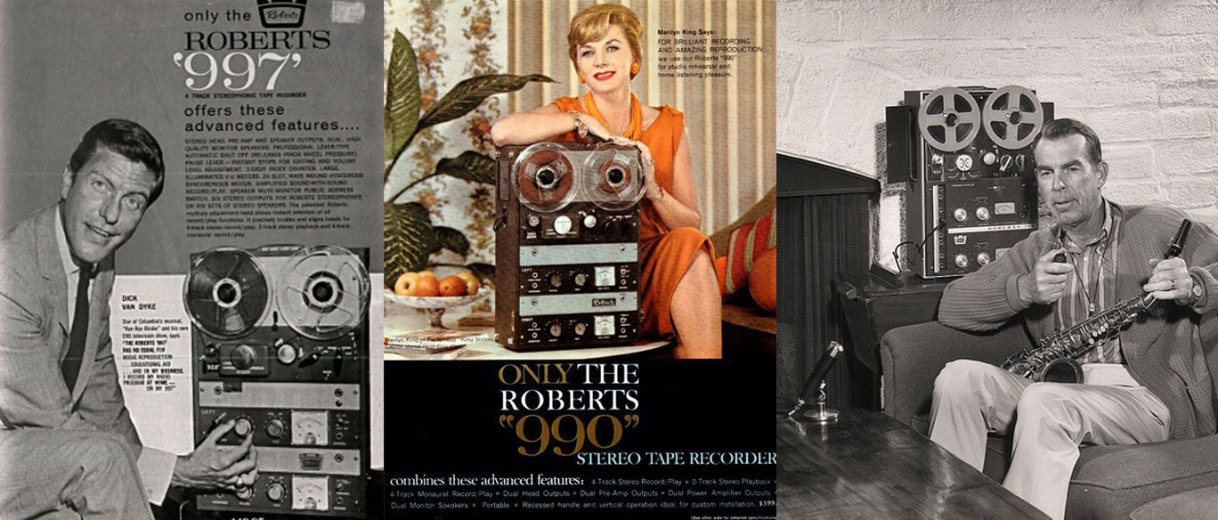 Dick Van Dyke, Marilyn King and Fred MacMurray endorsing Roberts Recorders in the Reel2ReelTexas.com vintage recording collection