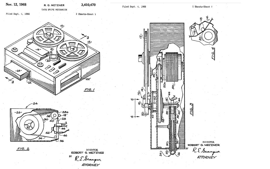 Robert G. Metzner's 1968 patent for reel, cassette & 8-track tape recorder