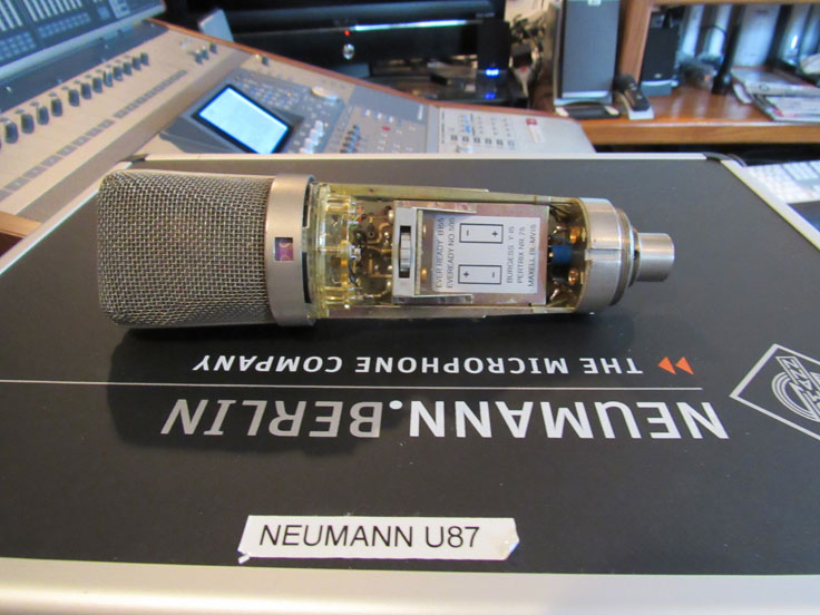 Neumann U87 microphone in the Reel2ReelTexas / Museum of Magnetic Sound Recording vintage reel tape recorder recording collection