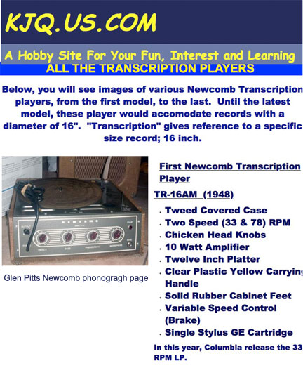 Glen Pitts Newcomb phonograph page