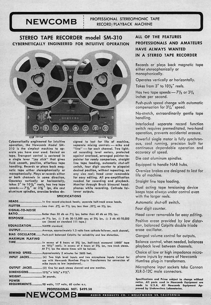 1963 ad for the Newcomb SM-310-4B Reel tape recorder in the Reel2ReelTexas vintage reel tape recorder recording collection