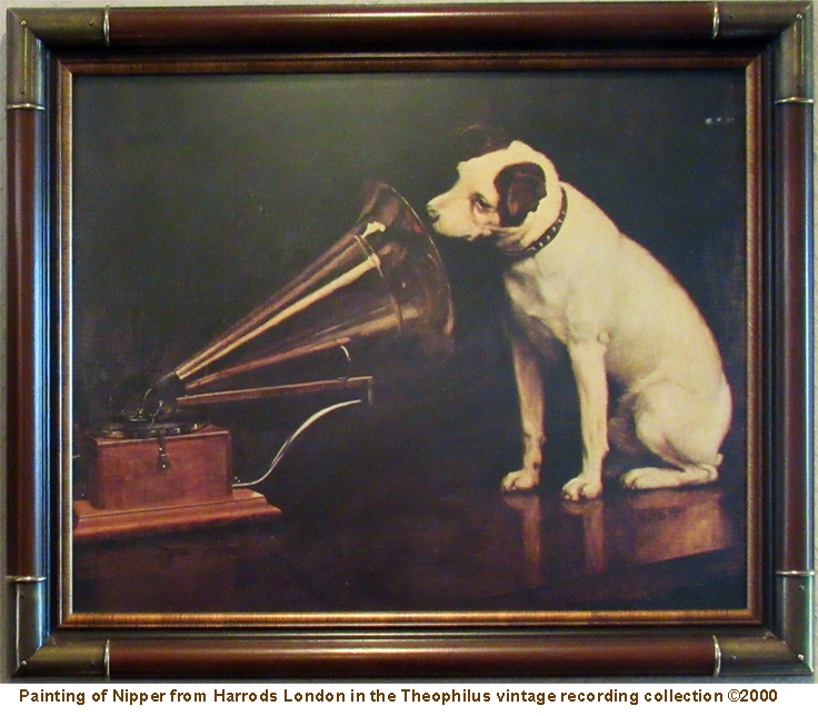 Limited edition painting of Nipper from Harrods London belonging to the Theophilus vintage reel tape recorder recording collection ©2000