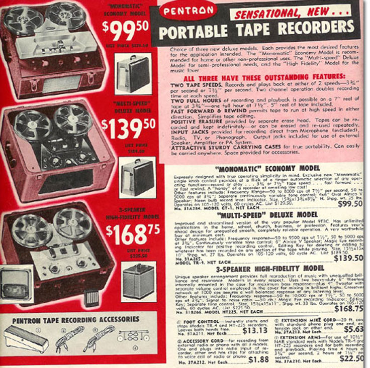 1957 ad for Pentron reel tape recorders in the Reel2ReelTexas.com vintage recording collection