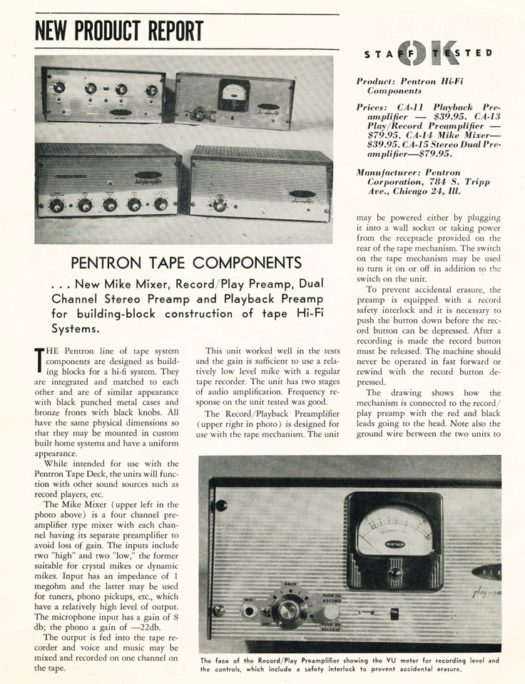 1957 article for stereo Pentron reel tape recorders in the Reel2ReelTexas.com vintage recording collection