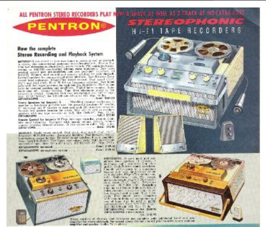 ad for Pentron reel tape recorders in the Reel2ReelTexas.com vintage recording collection