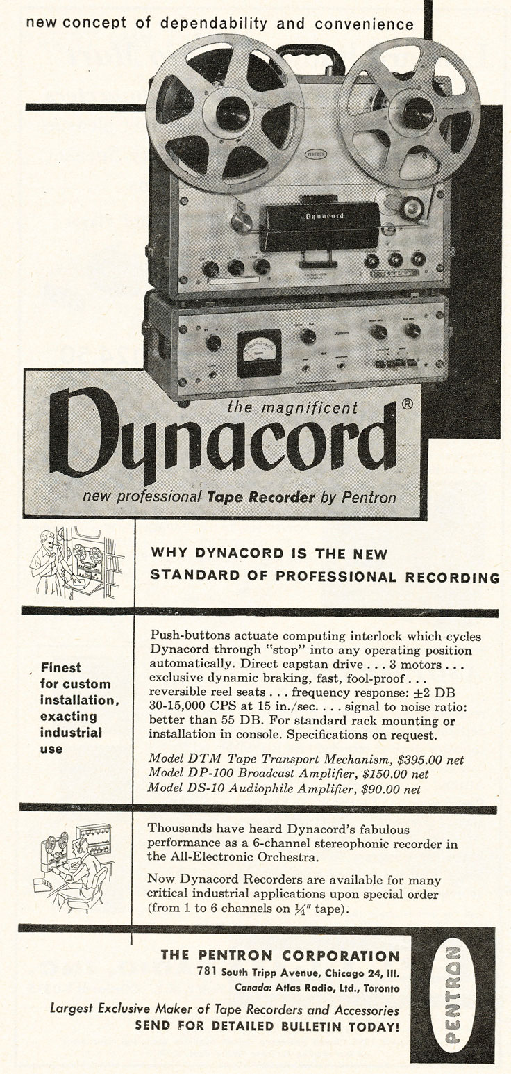 1951 ad for Pentron Dynacord reel tape recorders in the Reel2ReelTexas.com vintage recording collection