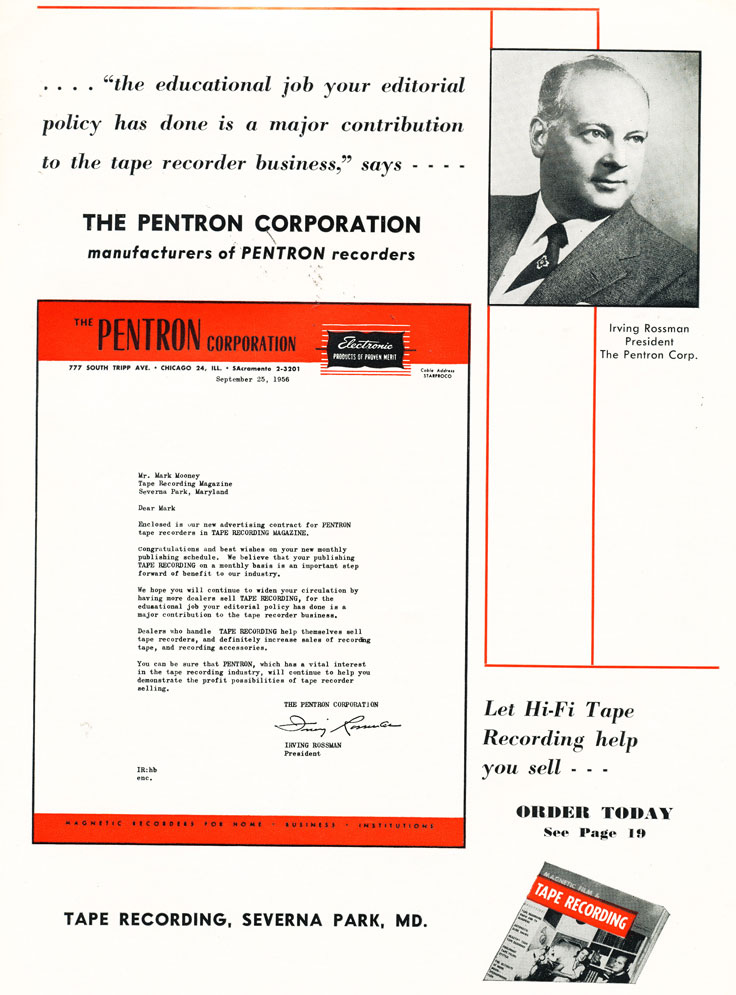 1956 letter from the President of Pentron Corporation Irving Rossman