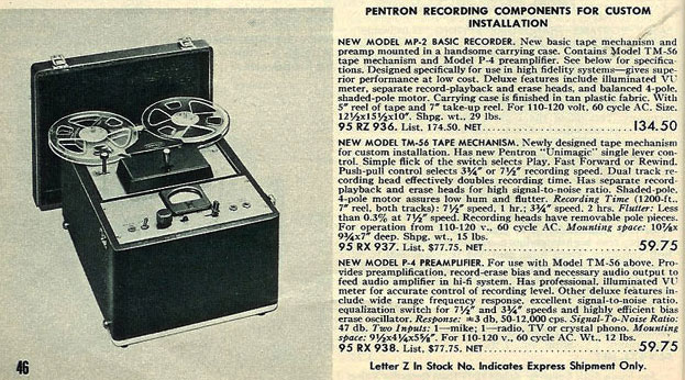 1951 ad for Pentron MP-2 reel tape recorders in the Reel2ReelTexas.com vintage recording collection