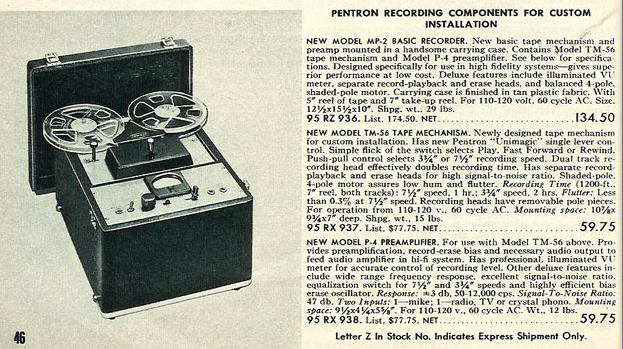 Pentron MP-2 reel to reel tape recorder in the Reel2ReelTexas.com vintage recording collection