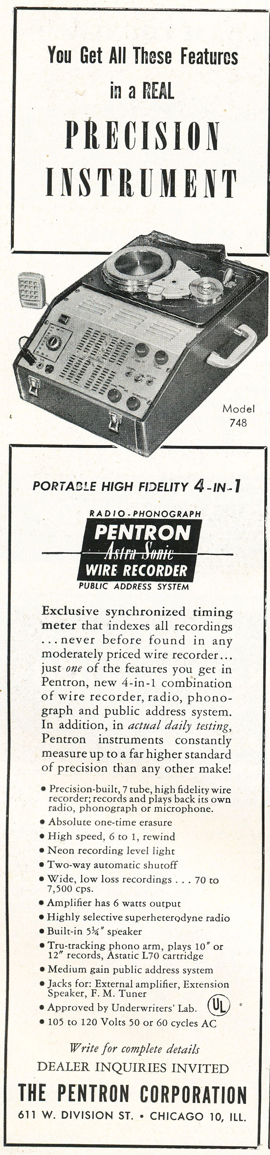 1948  ad for Pentron DAstroSonic wire recorders in the Reel2ReelTexas.com vintage recording collection