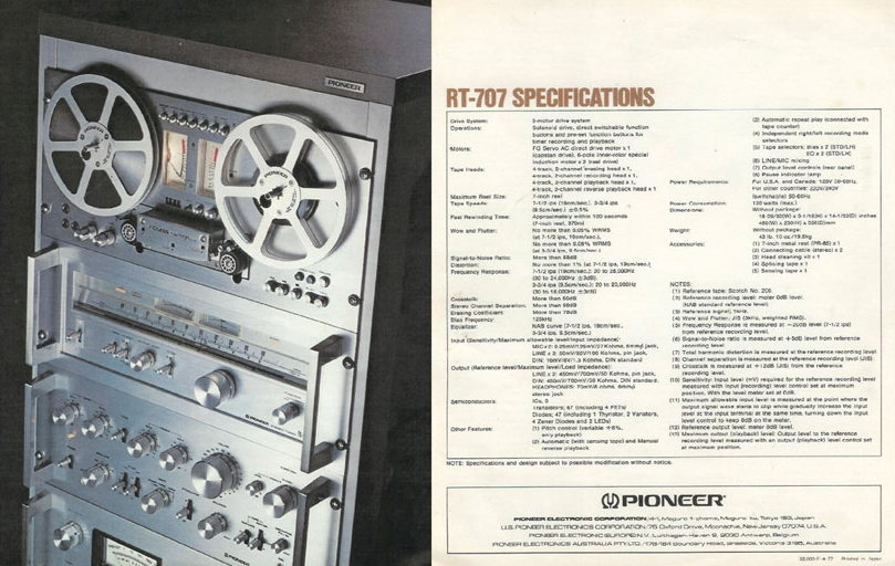 1978 ad for Pioneer reel to reel tape recorders in the Reel2ReelTexas.com vintage recording collection