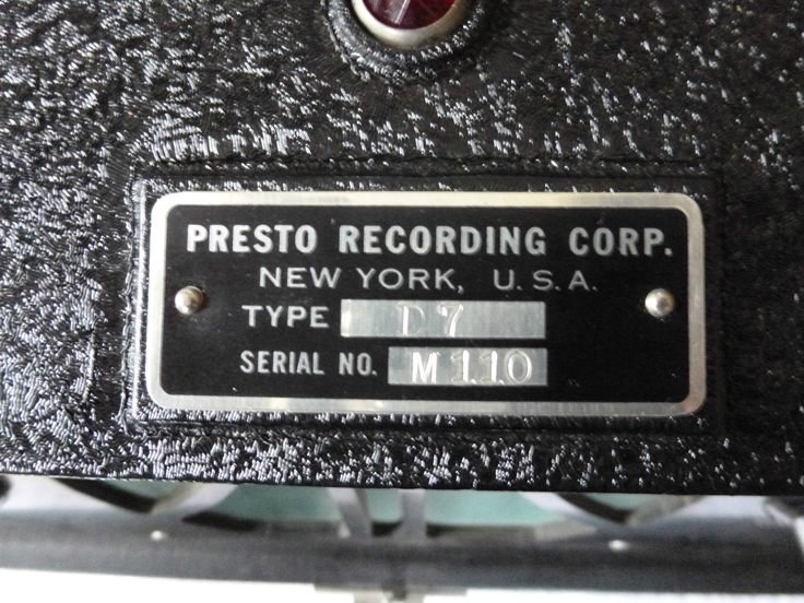 Presto D7 rcord cutter photos - donated by Larry Joubert