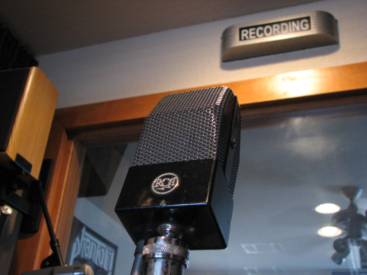 RCA 74B microphone in the Phantom Productions' studio and is part of the Reel2ReelTexas.com - Museum of Magnetic Sound Recording  vintage recording collection