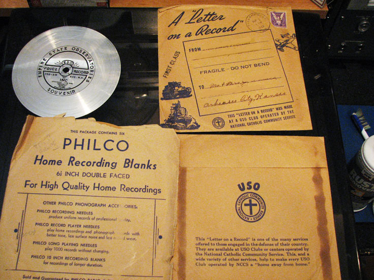 "USO ""A Letter on a Record"" with Philco Home Recording blanks and Empire State Building suvionoir disk were all donated by Bruce Truitt"