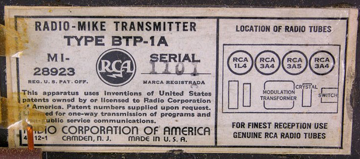 RCA NBC Wireless mic transmitter Type BTP-1A photo from donated third parties in the Reel2ReelTexas.com - Museum of Magnetic Sound Recording vintage reel tape recorder recording collection