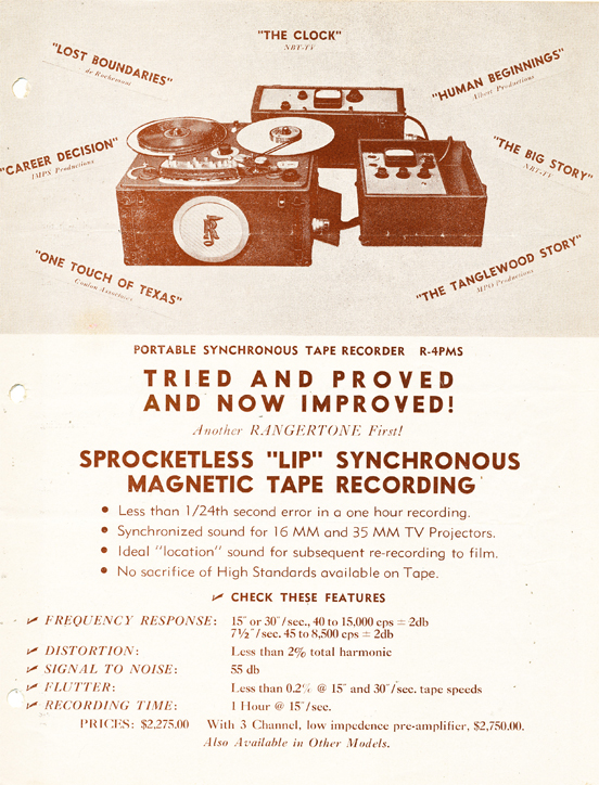 1949 Rangertone brochure in the MOMSR/Reel2ReelTexas/Theophilus vintage tape recorder collection