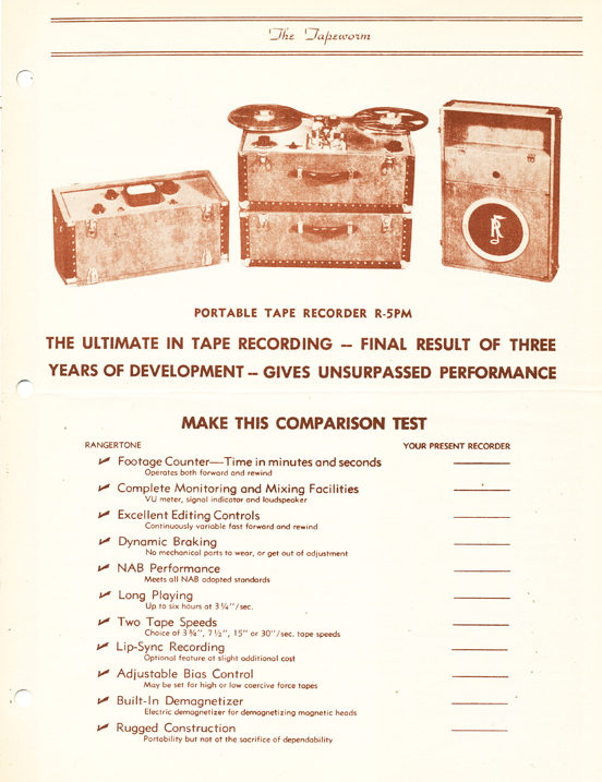 1950 Rangertone brochure in the MOMSR/Reel2ReelTexas/Theophilus vintage tape recorder collection