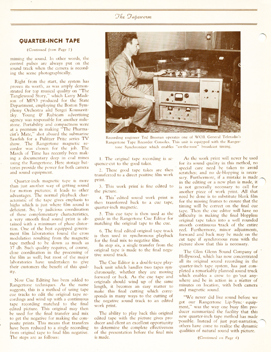 1951 Rangertone brochure in the MOMSR/Reel2ReelTexas/Theophilus vintage tape recorder collection