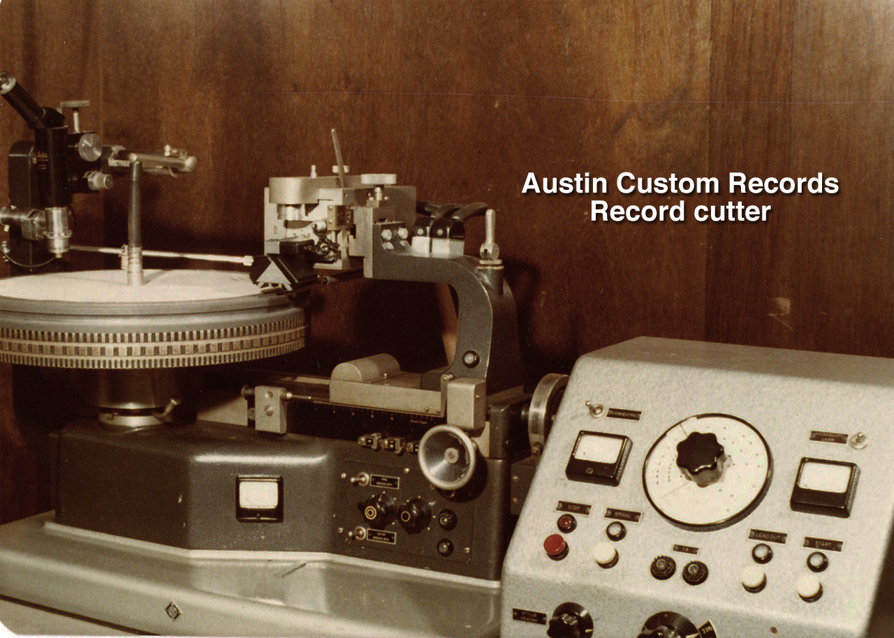 Austin Customs Records Neumann record cutter in the early 1980's  in the Reel2ReelTexas.com vintage recording collection