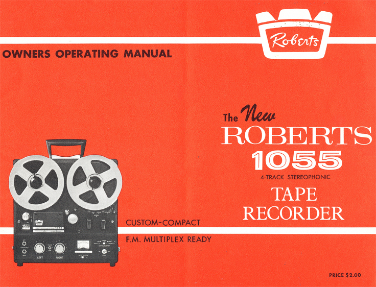 Cover of the 1963 Roberts Recorder brochure covering the Roberts 1055 reel to reel tape recorder in the Reel2ReelTexas.com & Museum of Magnetic Sound Recording vintage recording collection