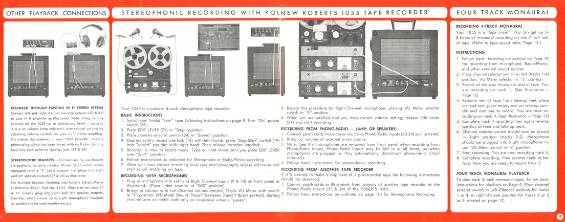 1963 Roberts Recorder brochure covering the Roberts 1055 reel to reel tape recorder in the Reel2ReelTexas.com & Museum of Magnetic Sound Recording vintage recording collection