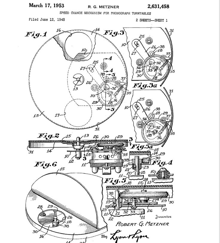 Turntable varible speed control patented by Robert G. Metzner
