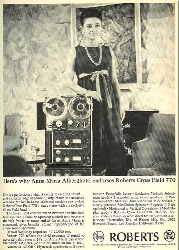 Roberts Tape recorder endorsed by Anna Maria Albergetti