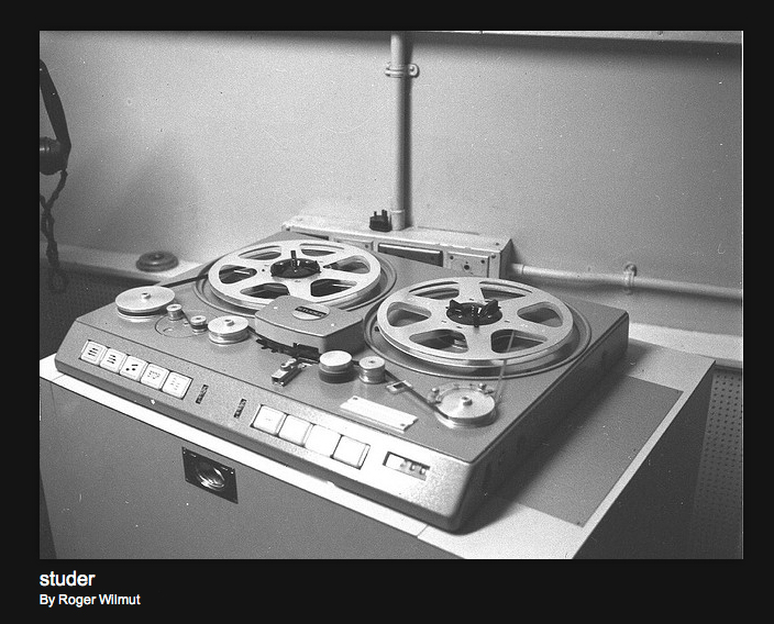 Early Studer professional reel to reel tape recorder Photos of the BBC provided with permission from BBC engineer Roger Wilmut to the Museum of Magntic Sound Recording