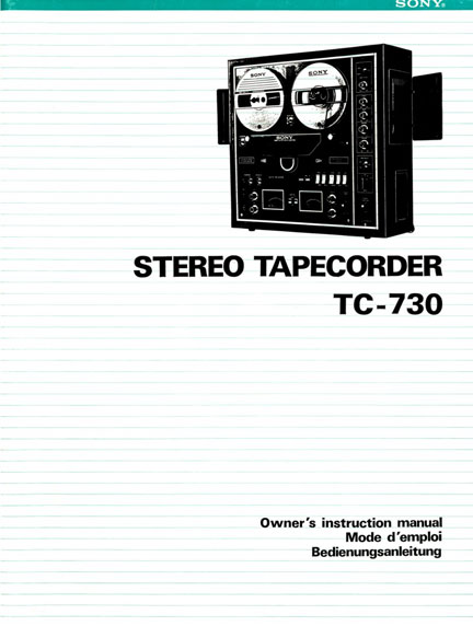 Manual cover for the Sony TC-730 reel tape recorder in the Reel2ReelTexas.com's vintage reel tape recorder recording collection