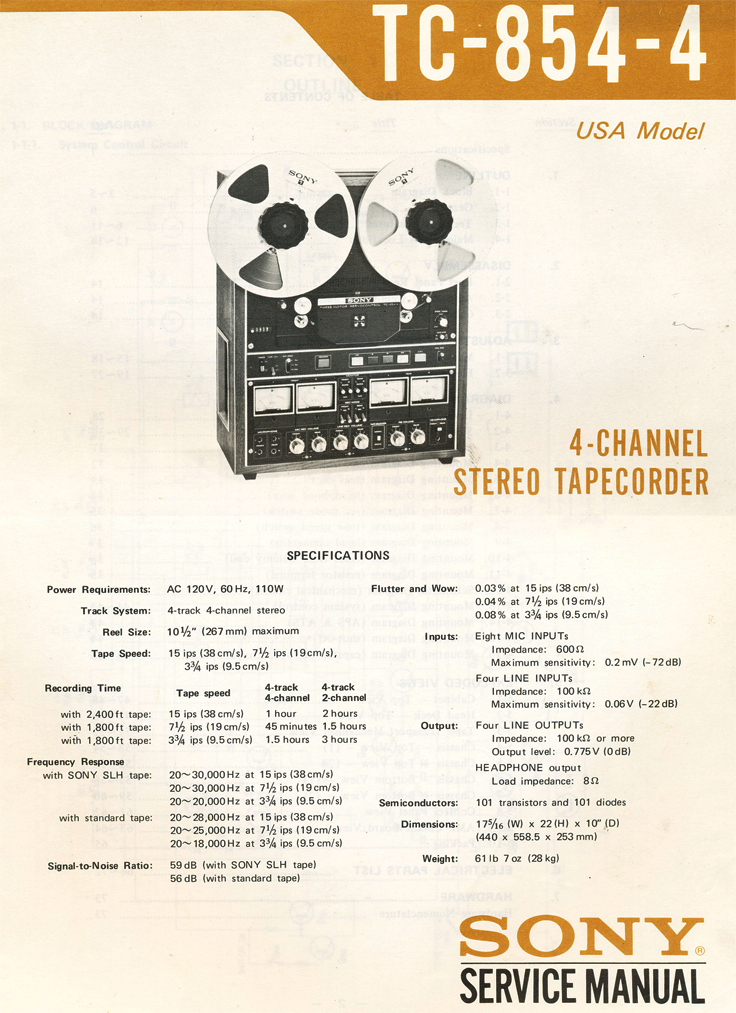 Sony TC-854-4 professional reel to reel tape recorder Manual in the Reel2ReelTexas.com vintage recording collectiond Recording