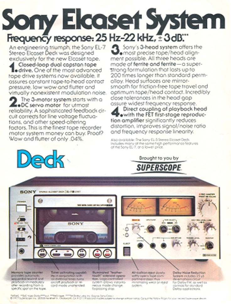 1976 ad for the Sony Elcaset  in the Reel2ReelTexas.com vintage reel tape recorder recording collection