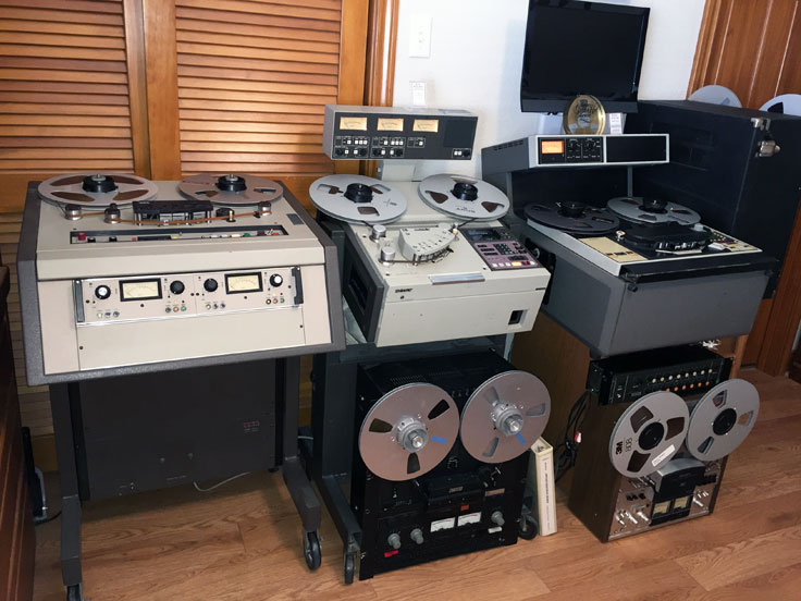 Sony/MCI JH-110, Sony APR 5003, Ampex ATR-100, Otari MX-5050 Otari MX5050 B2 HD reel to reel tape recorders in the reel2reeltexas.com - Museum of Magnetic Sound Recording vintage reel tape recorder recording collection