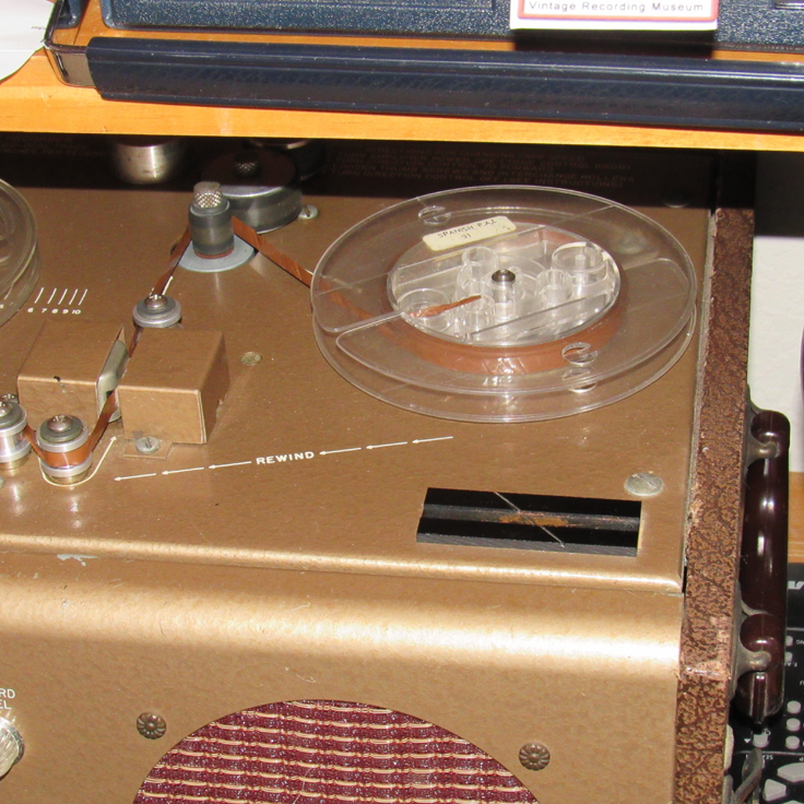 Splicing block on our 1949 Bell RT-65 reel to reel tape recorder in the Reel2reelTexas vintage recording collection
