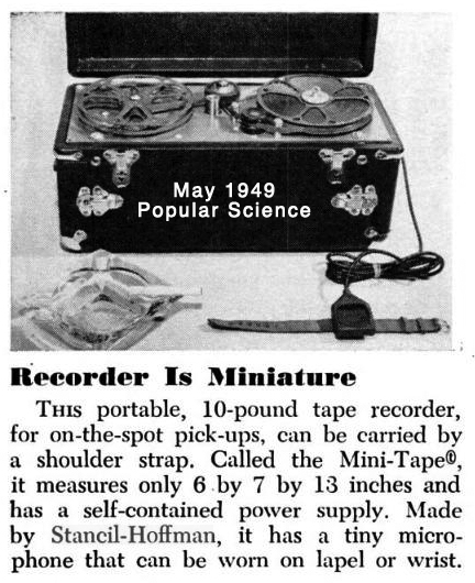 Article from the May 1949 Popular Science magazine about the Stancil-Hoffman MiniTape reel to reel portable tape recorder in the Reel2ReelTexas.com vintage recording collection's vintage recording collection