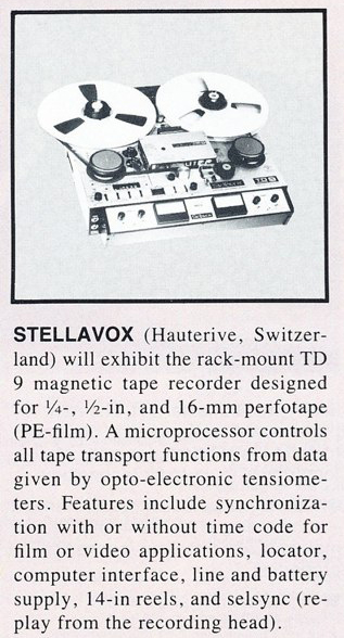 1986 Stellavox TD9 professional reel tape recorder announcement in the Reel2ReelTexas.com vintage recording collection