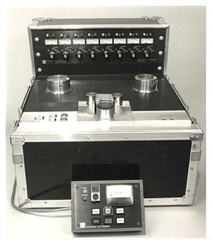 Stephens Electronics 8 track professional reel to reel tape recorder photo in the Museum of magnetic Sound Recording
