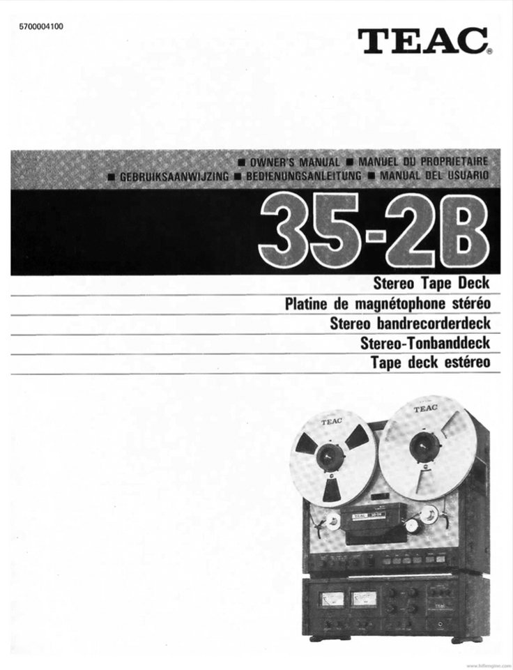 Teac 35-2 mastering reel to reel tape recorder manual cover in the Reel2ReelTexas.com vintage reel tape recorder recording collection